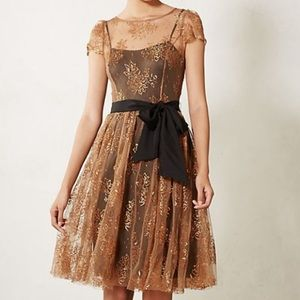 Anthropologie Shimmering Lace Party Dress with Bow
